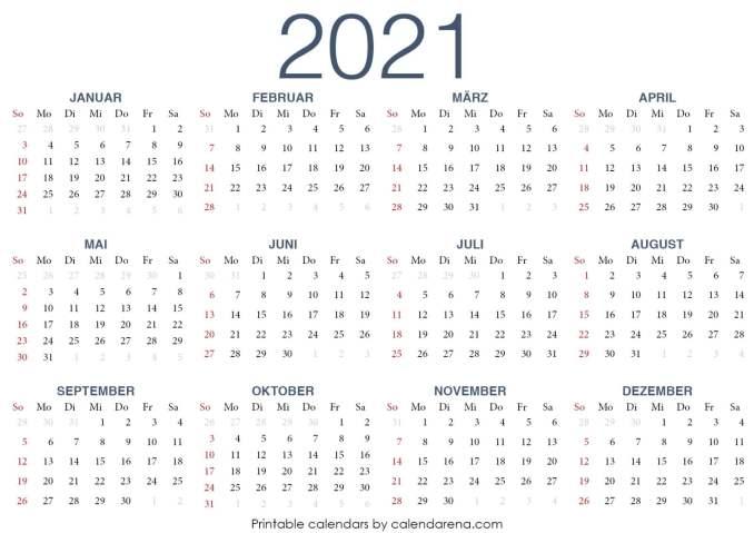 PDF-Kalender 2021 Vorlage 2
