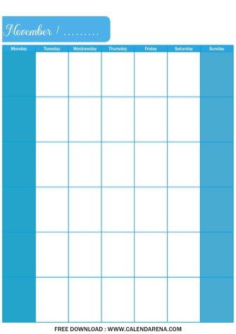 blank calendar pages november 2020