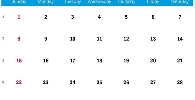 blue november 2020 calendar