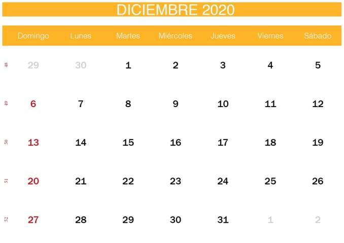 calendario amarillo de diciembre de 2020-min