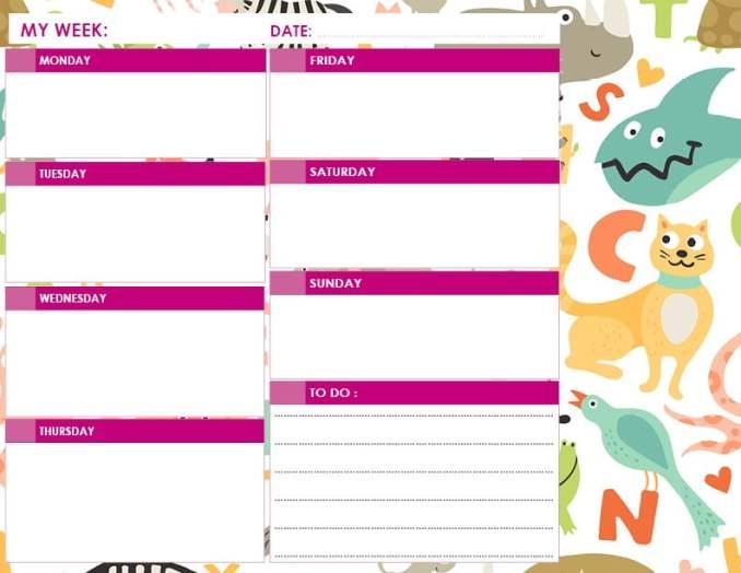 daily calendar kids pink
