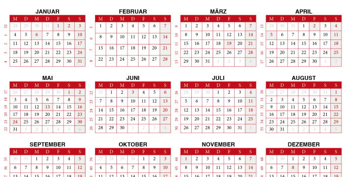 kalendar 2021 zum Ausdrucken Schweiz
