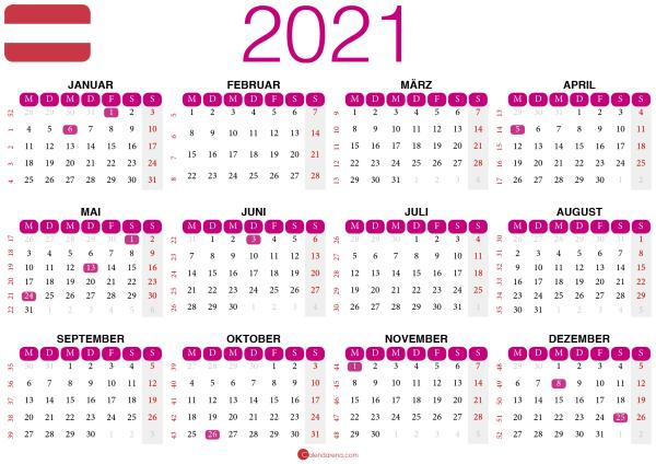 kalender 2021 zum ausdrucken AT