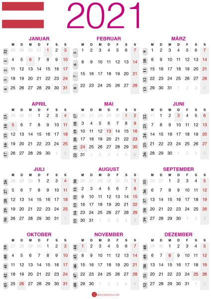 kalender 2021 zum ausdrucken AT2