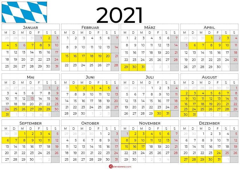 2021 Kalender Bayern Ferien, Feiertage