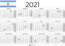 Calendario Argentina 2021 con días festivos