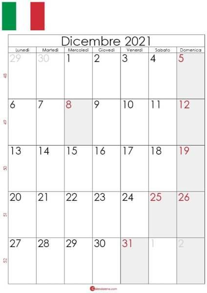Calendario Dicembre 2021