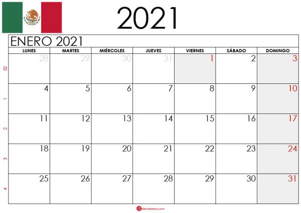 Calendario Enero 2021 Mexico