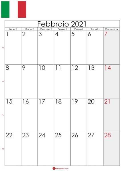 Calendario febbraio 2021 da stampare