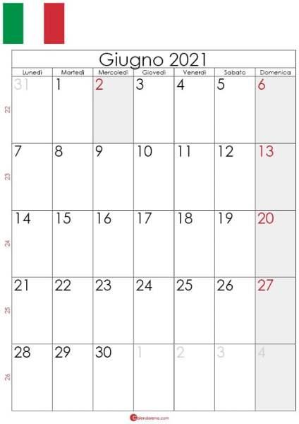 Calendario giugno 2021 da stampare