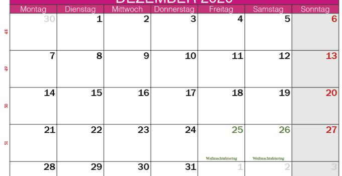 Kalender Dezember 2020 im Querformat rosa