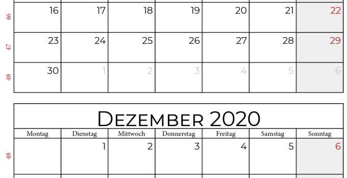 Kalender november dezember 2020 hochformat