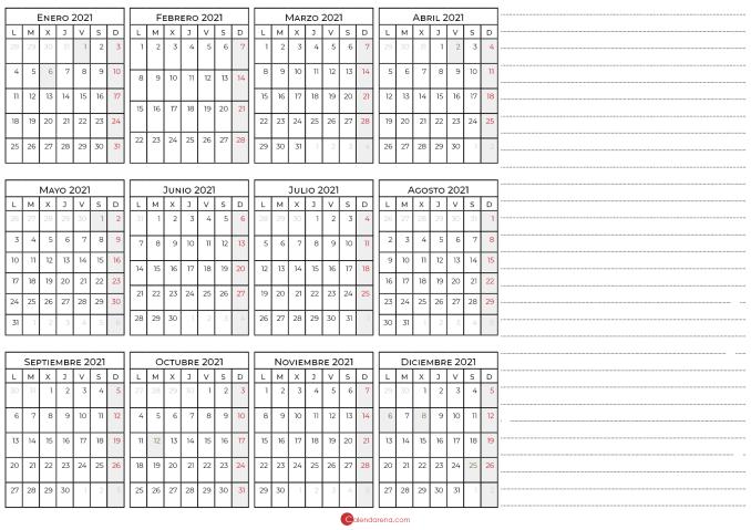 calendario con notas 2021