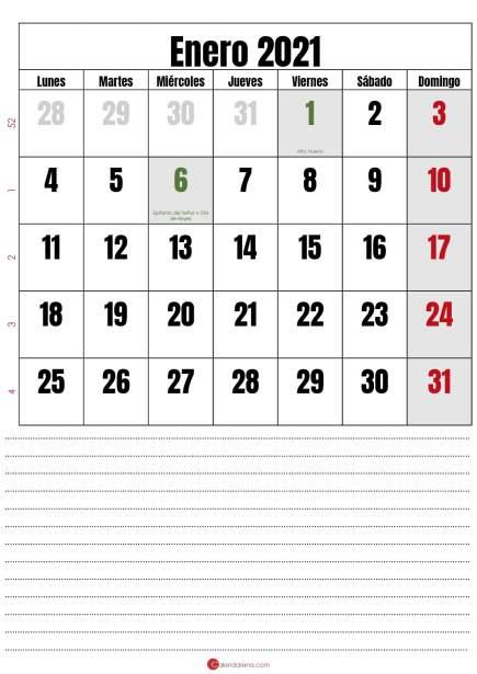 calendario enero 2021 con notas