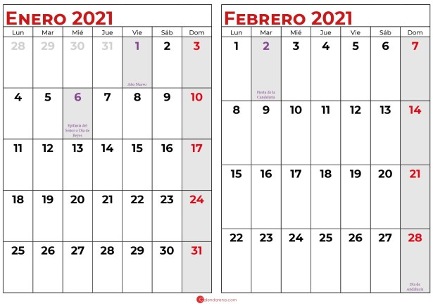 calendario enero y febrero 2021