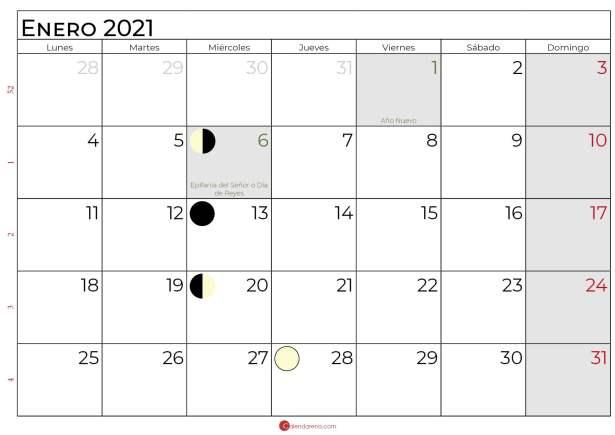 calendario lunar enero 2021