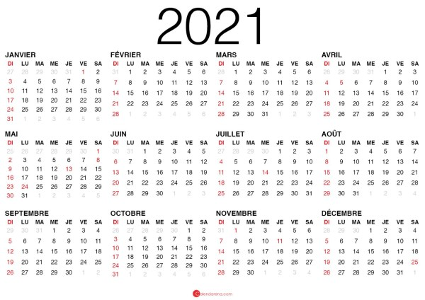 calendrier 2021 vierge à imprimer