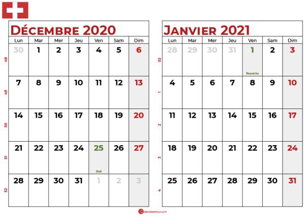 calendrier decembre 2020 janvier 2021 ch