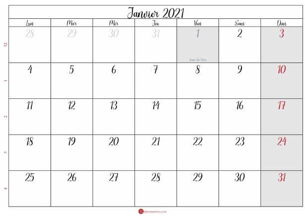calendrier janvier 2020 à imprimer gratuit