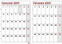 calendrier janvier fevrier 2021