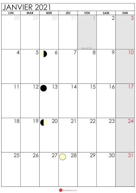 calendrier lunaire janvier 2021