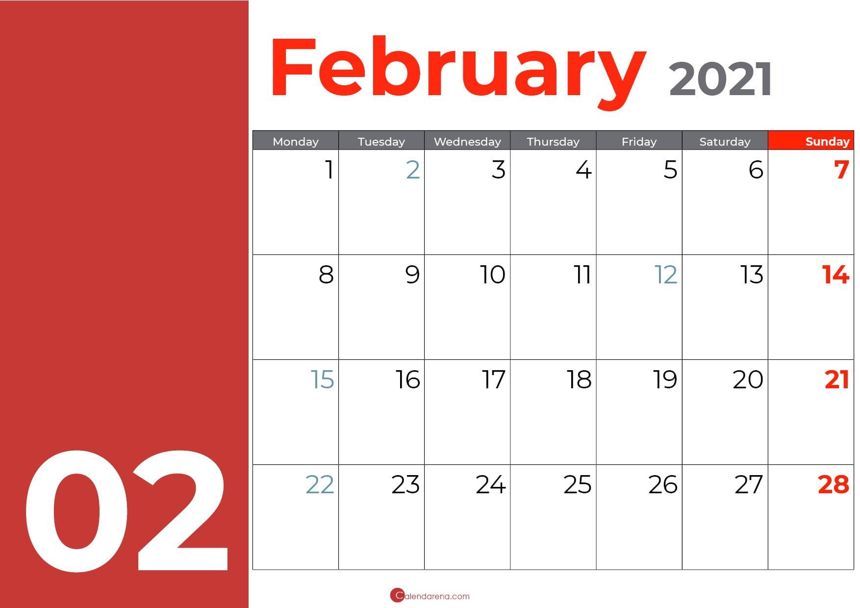 Best Free Blank February calendar 2021 - Calendarena