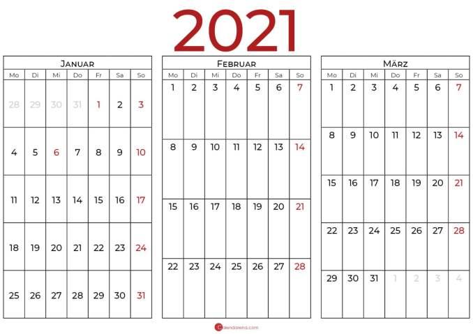 kalender 2021 januar bis märz