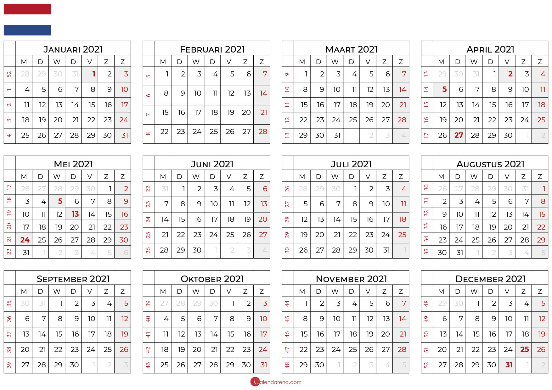 Beste gratis lege kalender 2021 met feestdagen 🇳🇱 ...