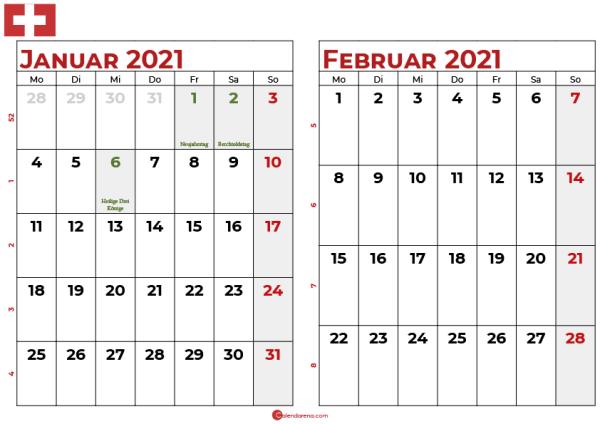 kalender januar februar 2021 -ch