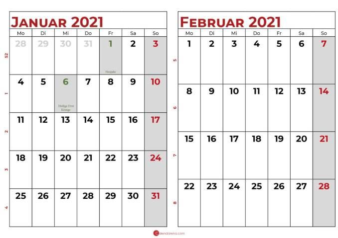 kalender januar februar 2021