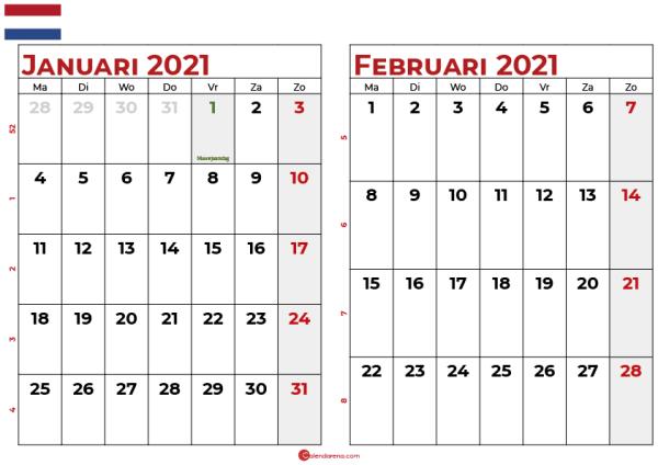 kalender januari februari 2021-nl