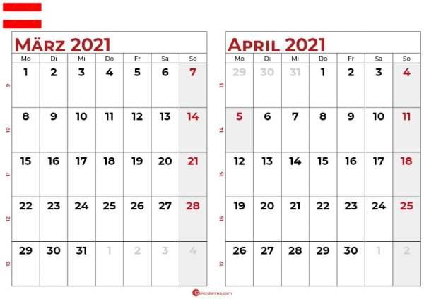 kalender märz april 2021 Österreich
