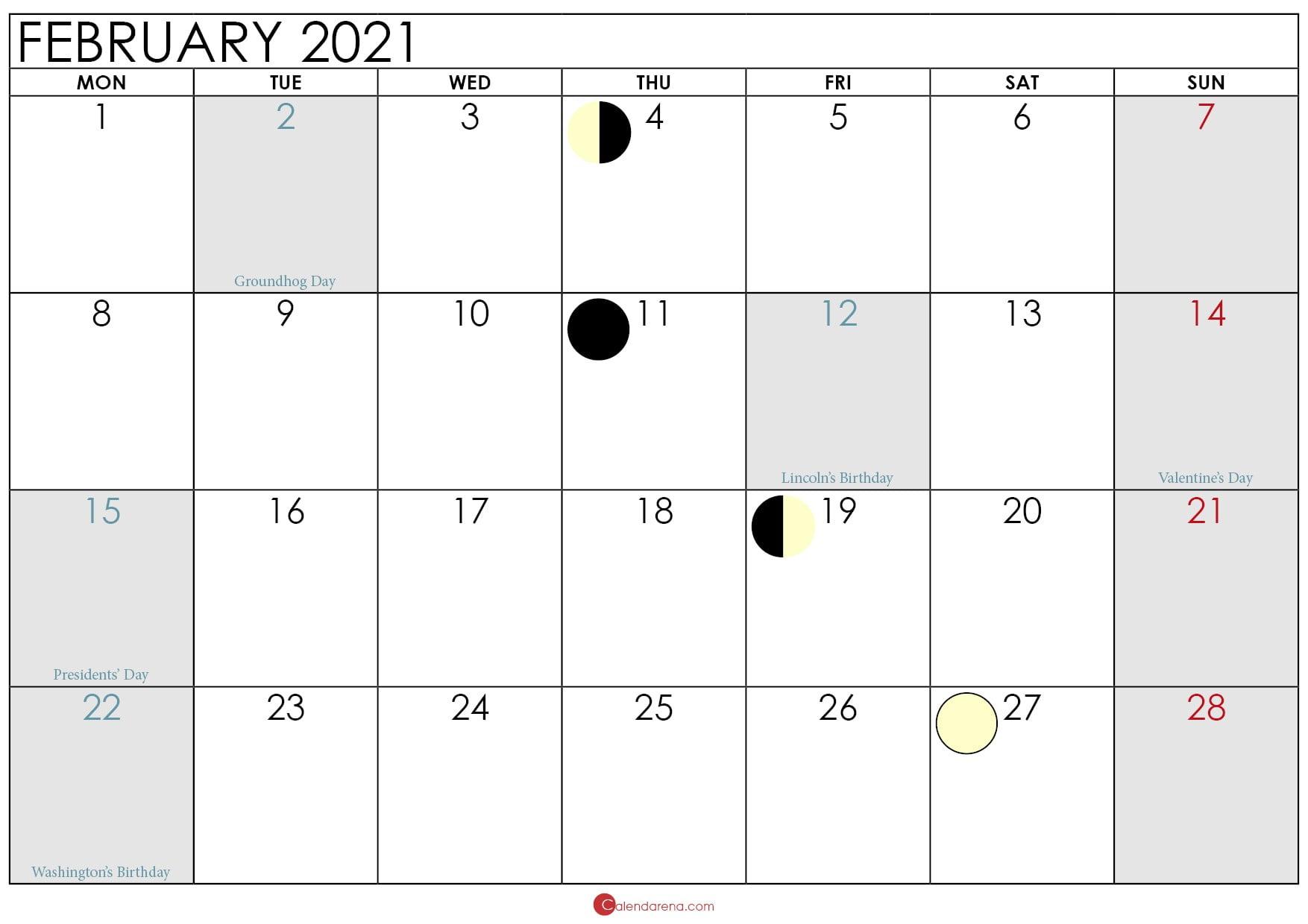 moon phase february 2021