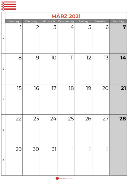 2021 März kalender bremen