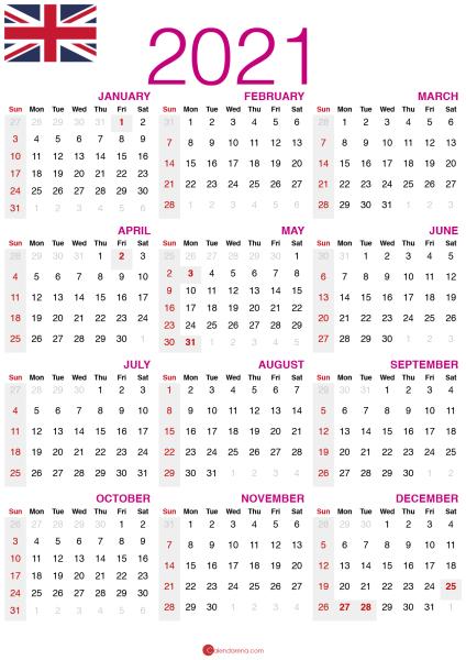 2021 calendar UK