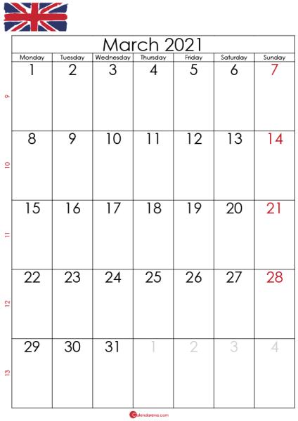 Calendar march 2021