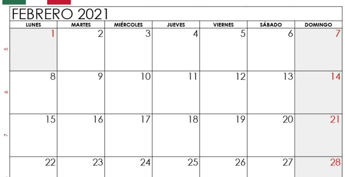 Calendario Febrero 2021 Mexico