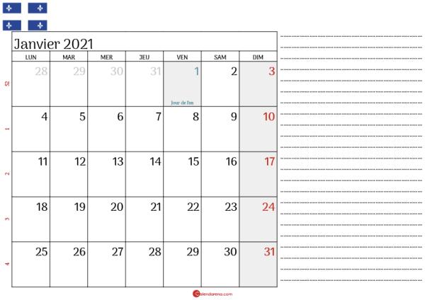 Calendrier Janvier 2021 Québec_3