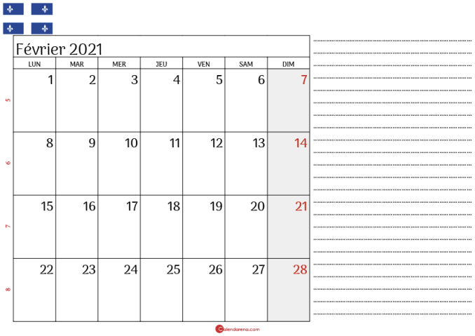 Calendrier fevrier 2021 Québec_3