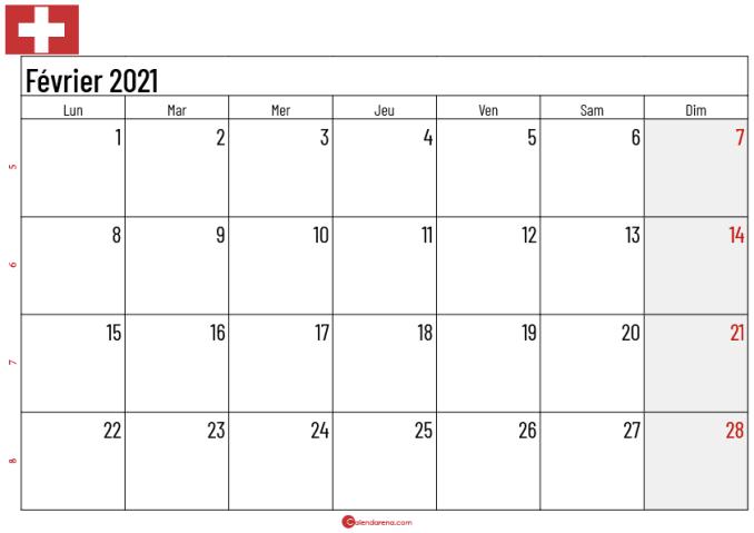 Calendrier février 2021 suisse