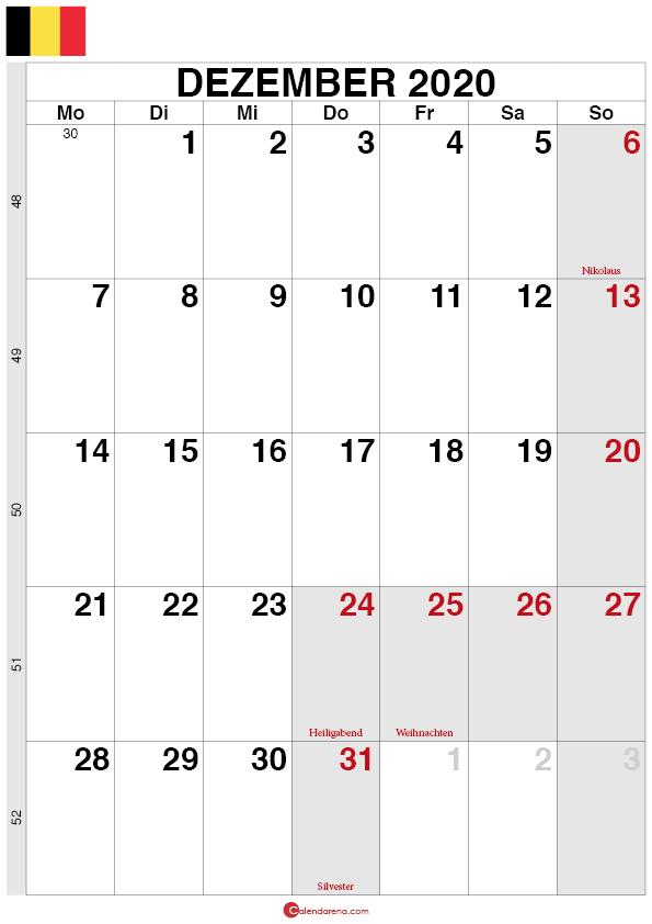 Kalender Belgien Dezember 2020 quorformat