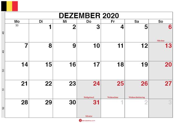 Kalender Belgien Dezember 2020