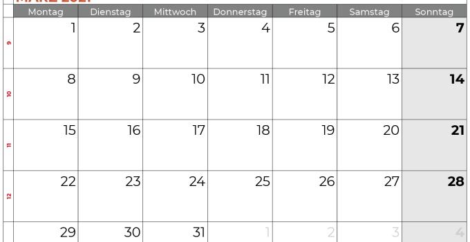 Kalender März 2021 Niedersachsen