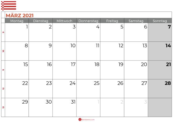Kalender März 2021 bremen