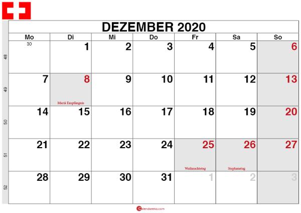 Kalender Schweiz Dezember 2020