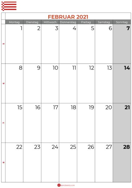 Kalender februar 2021 bremen