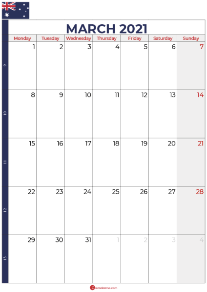 calendar march 2021 australia