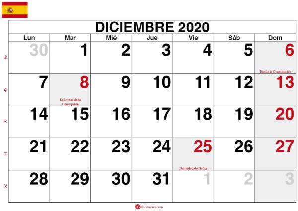 calendario diciembre 2020 España