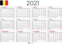calendrier 2021 avec semaine belgique