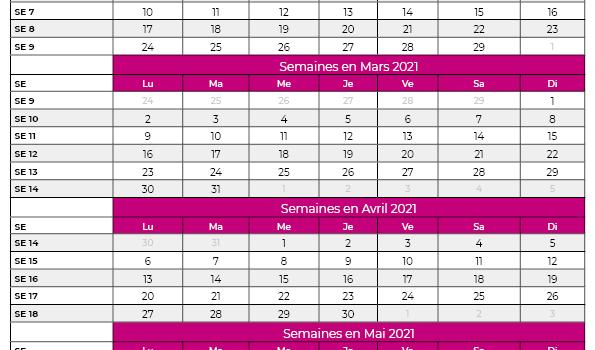 calendrier 2021 avec semaine
